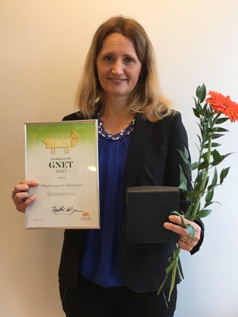 Kategori Gnet - Riksföreningen för Skolsköterskor (Christina Stenhammar, ordförande i föreningen mottog priset)