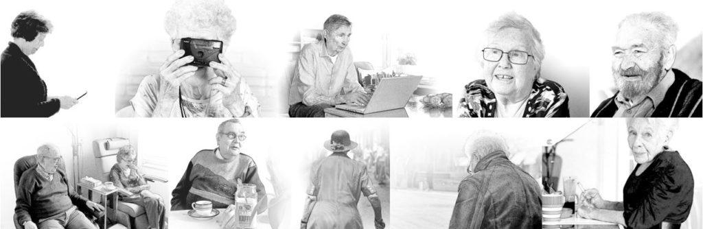 Svartvitt collage av äldre personer